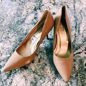 Comfort Plus Nude Heels Closed Toed Pointed